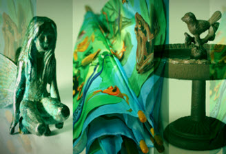 Image of artists impression of botanical shop products in image collage of metal fairy, scarves and metal bird bath