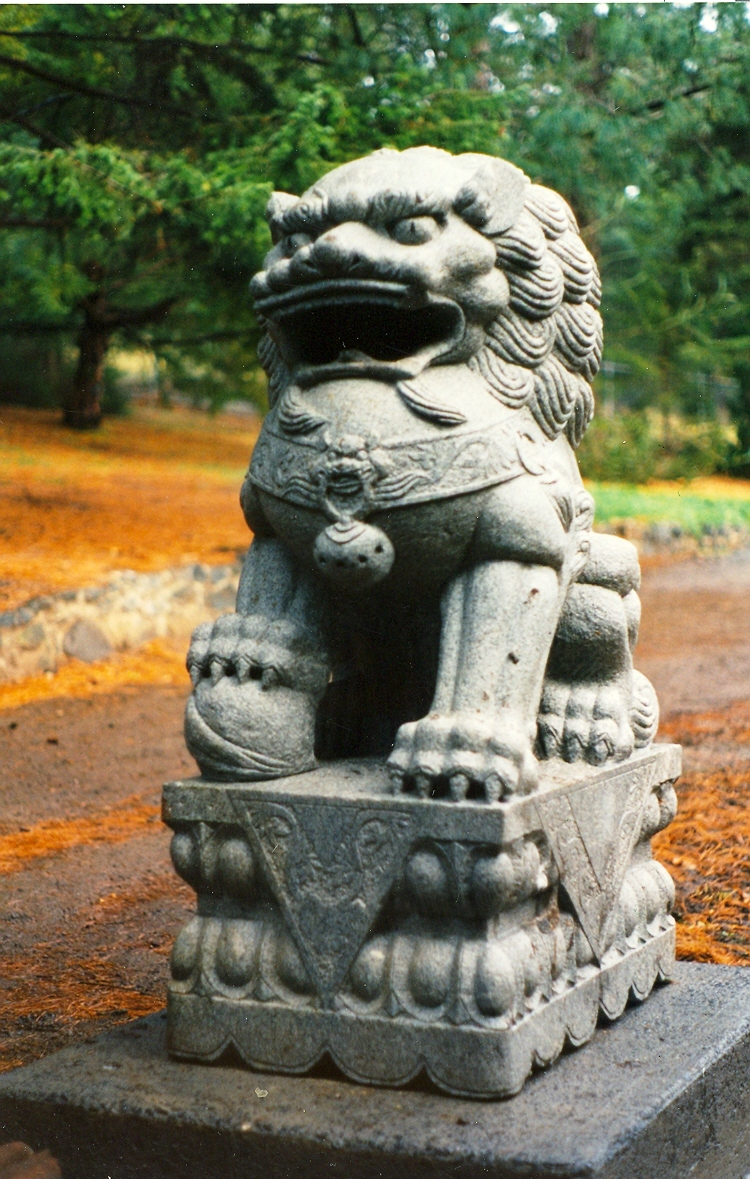 Chinese Lion in Chinese garden at the botanical Gardens