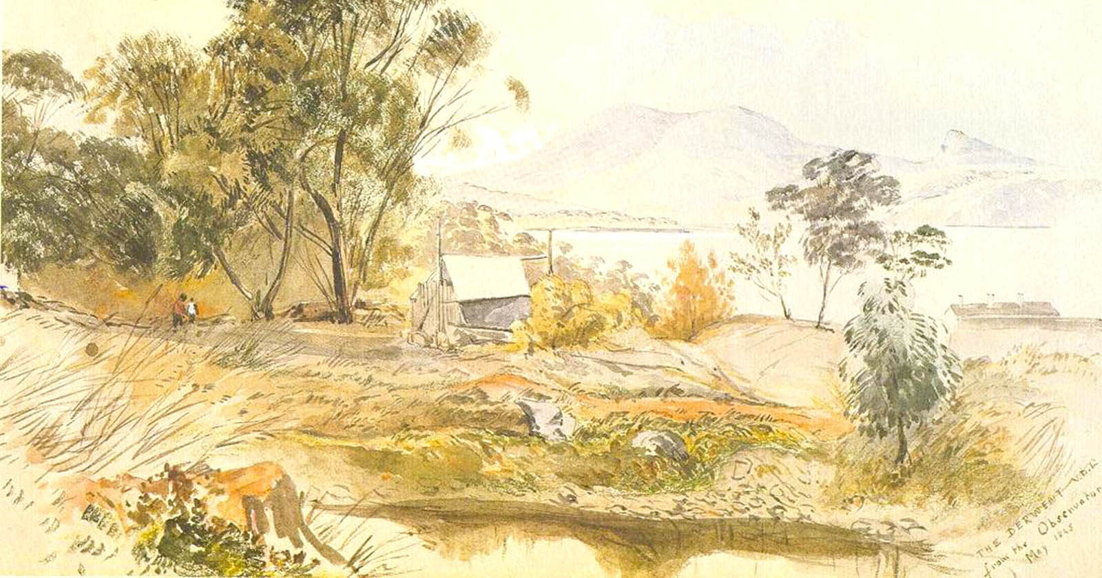 Print of an early watercolour of the botanical gardens site before before 1845 artist unknown
