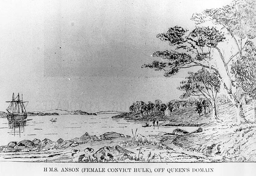 early print of ship off domain near current site of Botanical Gardens with aboriginals