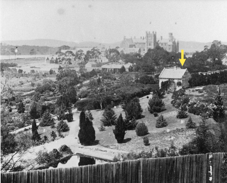 overseers cottage shown in and early image from around the 1860's view from higher up in the Domain.