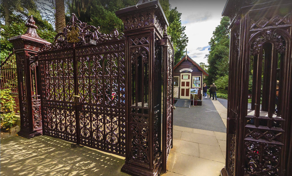 image of front gates, showing metal work and detail link to virtual walk