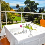 View of the derwent river and Gardens from a table on the balcony of the Gardens Restaurant