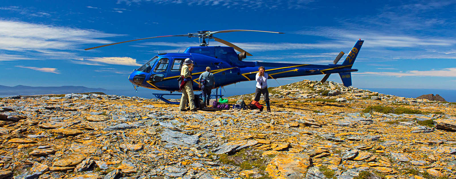 helicopter drop off seed collection field trip central Tasmanian wilderness