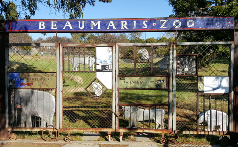 Beaumaris Zoo and the modern front gates
