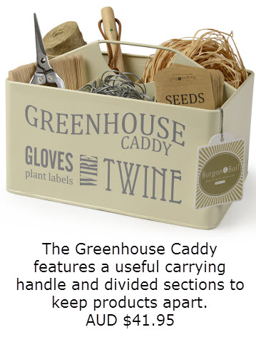 Image of a sales product in the shop called the Greenhouse caddy it features a useful carrying handle and divided sections to keep product, tools apart Australian $41.95