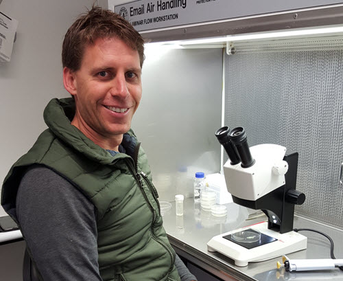 Dr Nigel Swarts at work in the TSCC laboratory