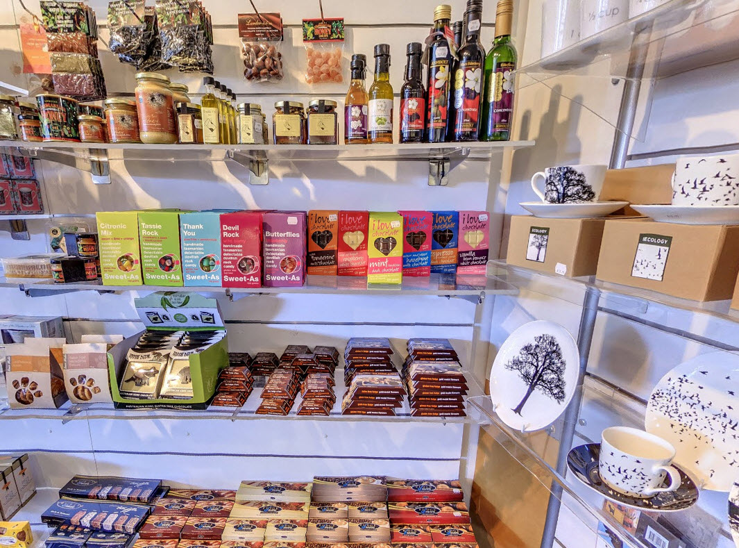 Tassie gifts in the botanical shop, range of produce including chocolate, oils and ceramics