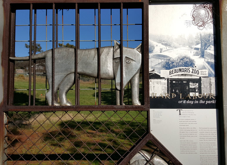 close up of the Tasmanian tiger caricature or Thylacine on gate