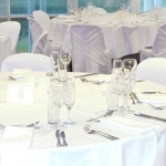 Training or Riverview room fully set up for dinner function in the gardens visitors centre
