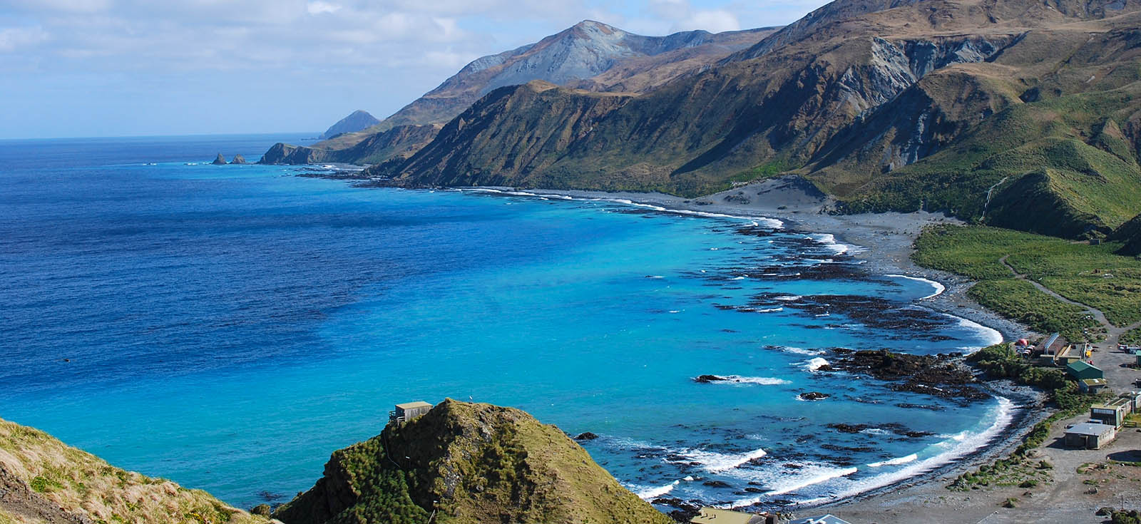 View of Buckles Bay on Macquarie Island from Wireless Hill