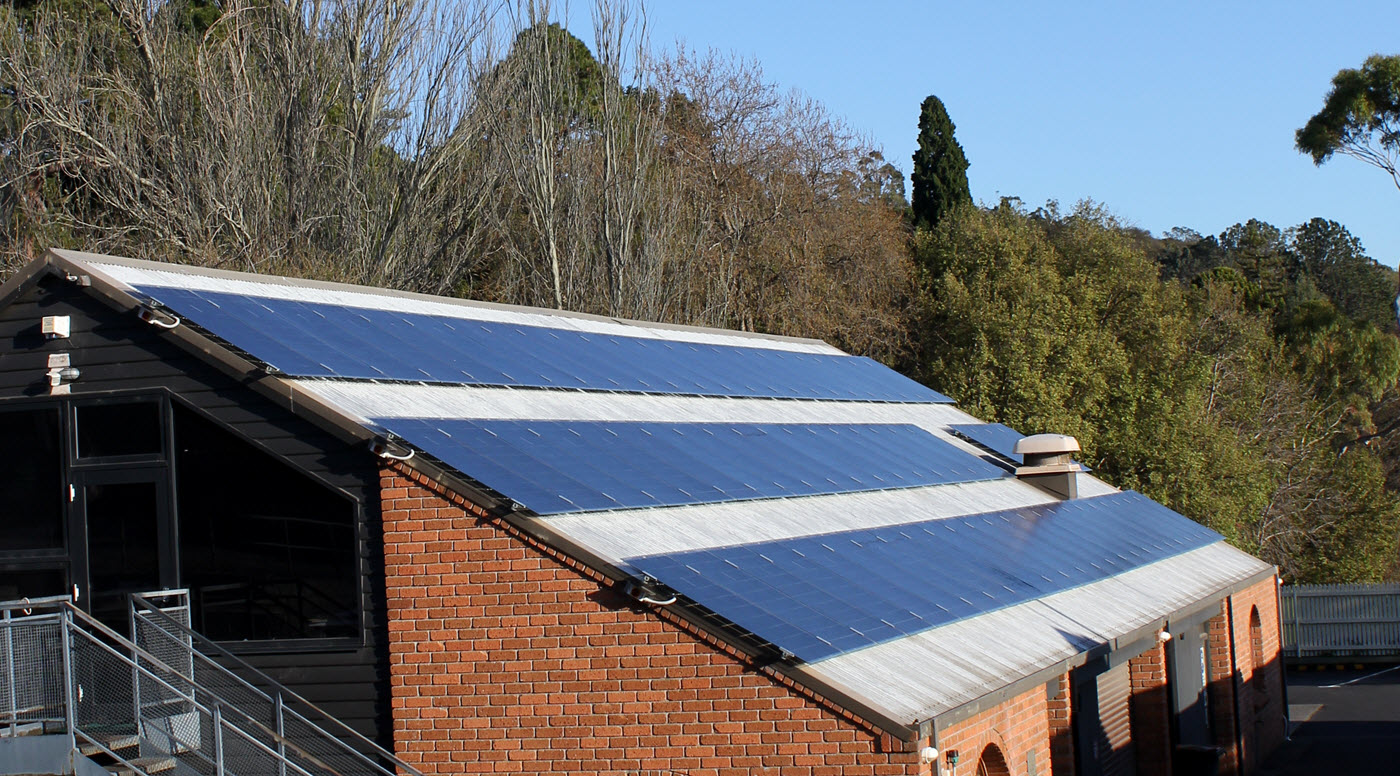 image of solar panels on RTBG depot building 2015