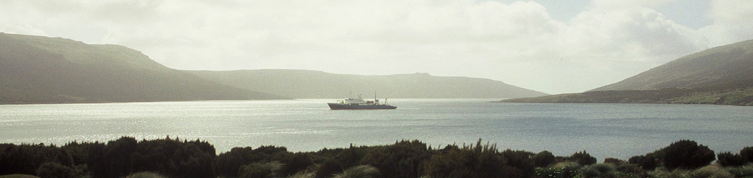 Akademik Shokalskiy at anchor in Perserverance Harbour
