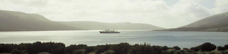 Akademik Shokalskiy at anchor in Perserverance Harbour