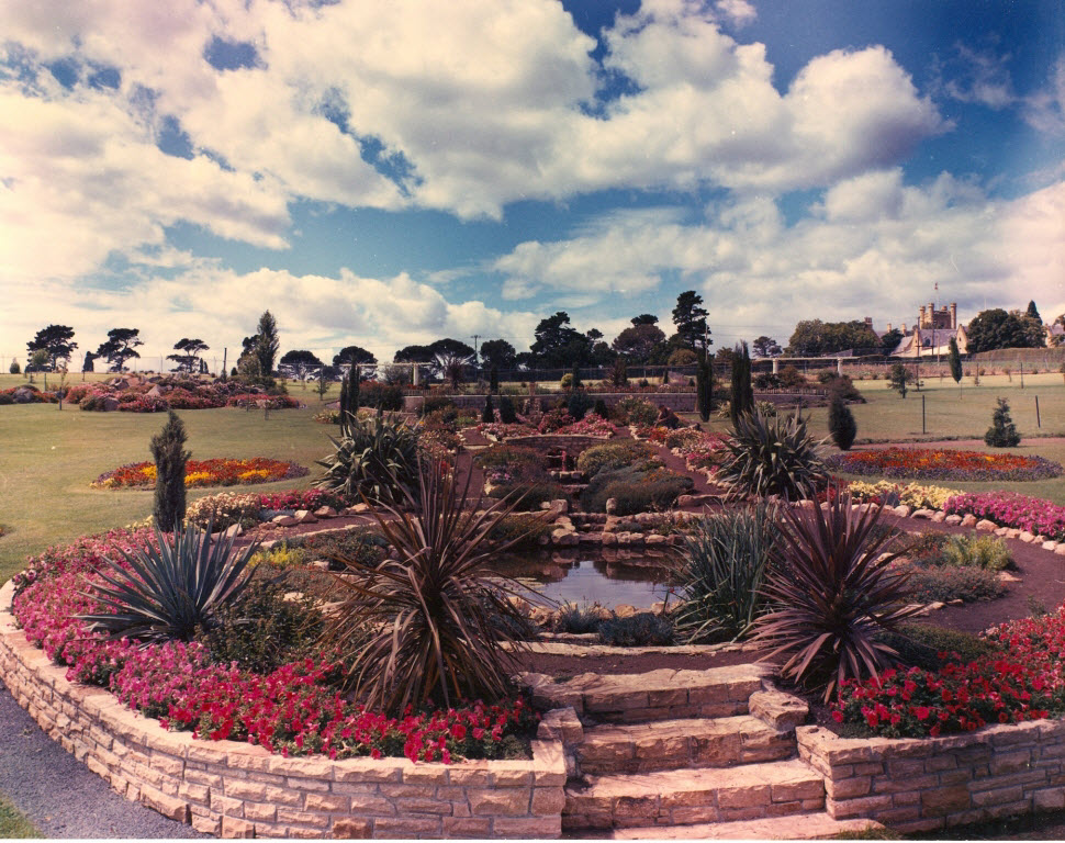 An early image of the first pond and rills that became the pond to house the fountain in the mid 1970's